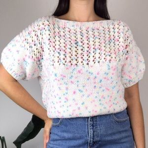Vintage 80's Handmade Knit Confetti Sweater